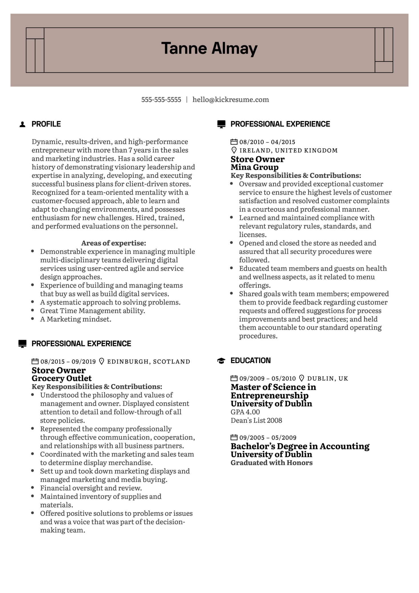 resume examples by real people  store owner resume example