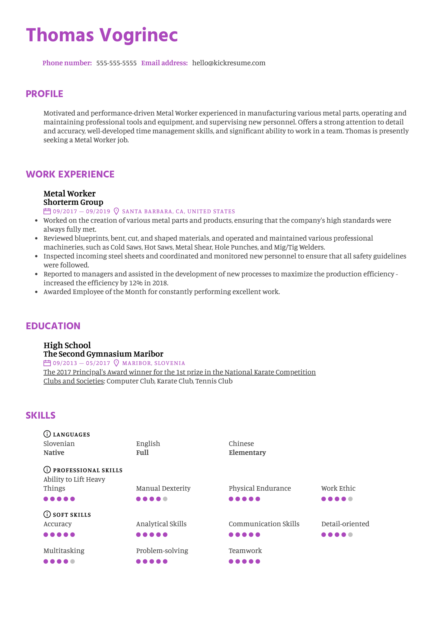 Metal Worker Resume Example