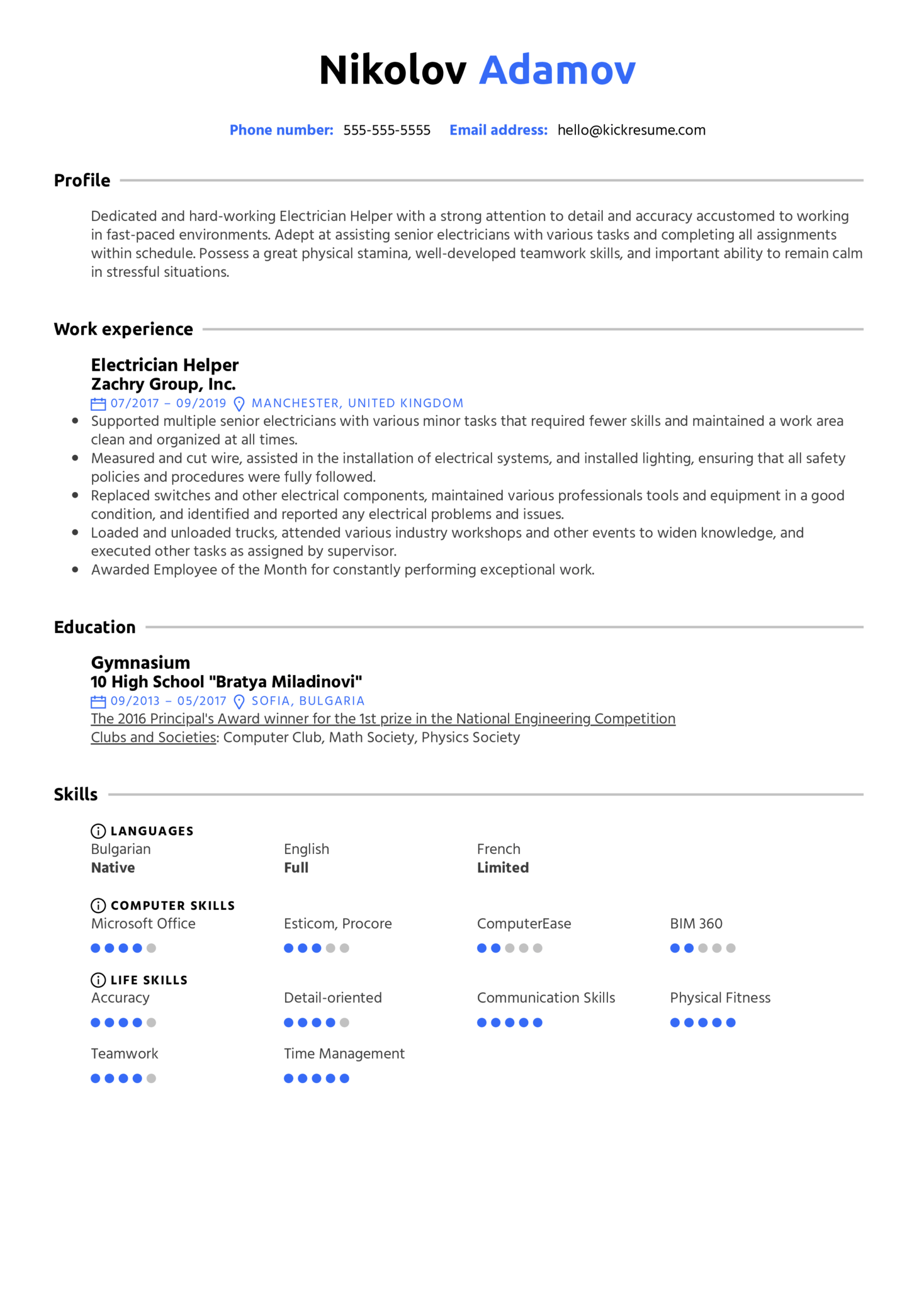 Resume Examples by Real People: Electrician Helper Resume ...
