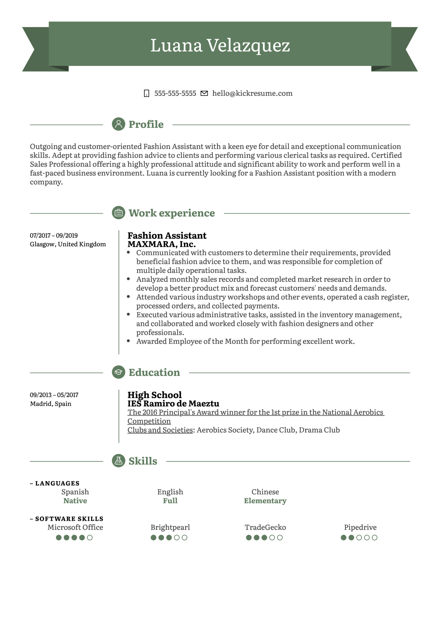 Fashion Assistant Resume Example