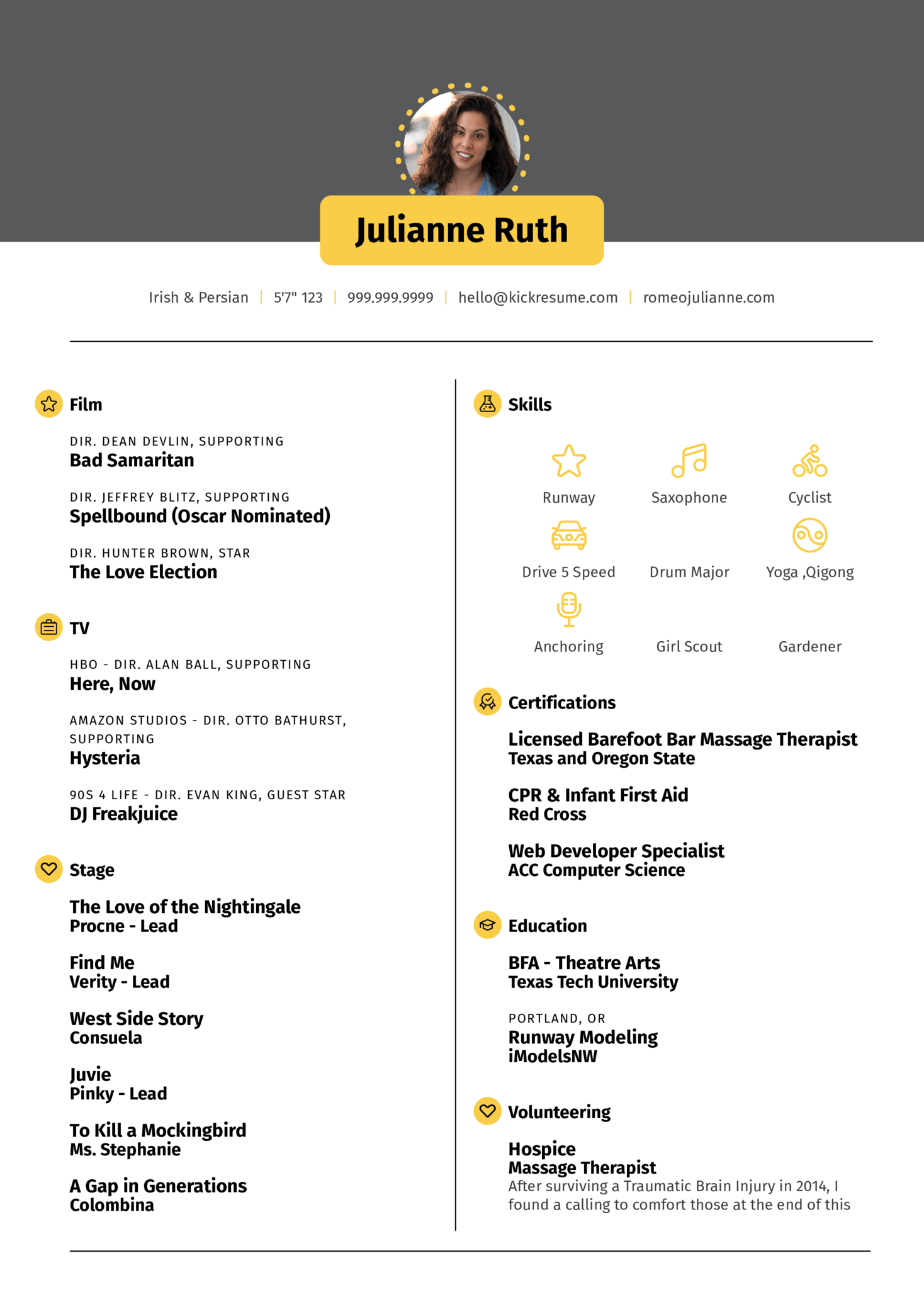 Resume Examples by Real People: Acting resume template | Kickresume