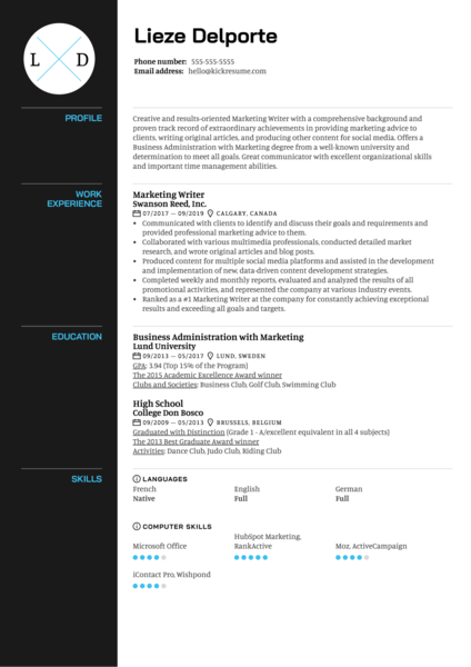 Marketing Writer Resume Sample