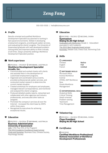 Workforce Development Specialist Resume Example