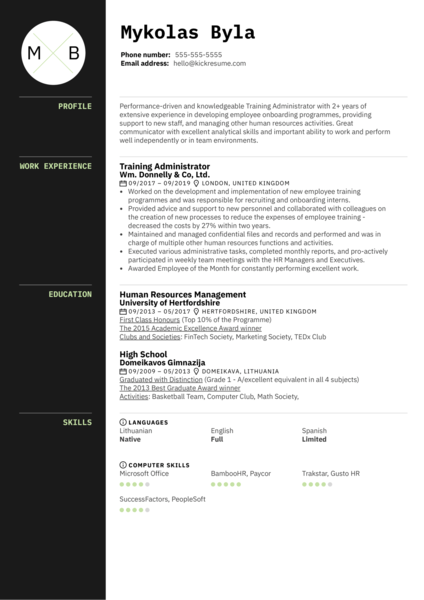 Training Administrator Resume Example