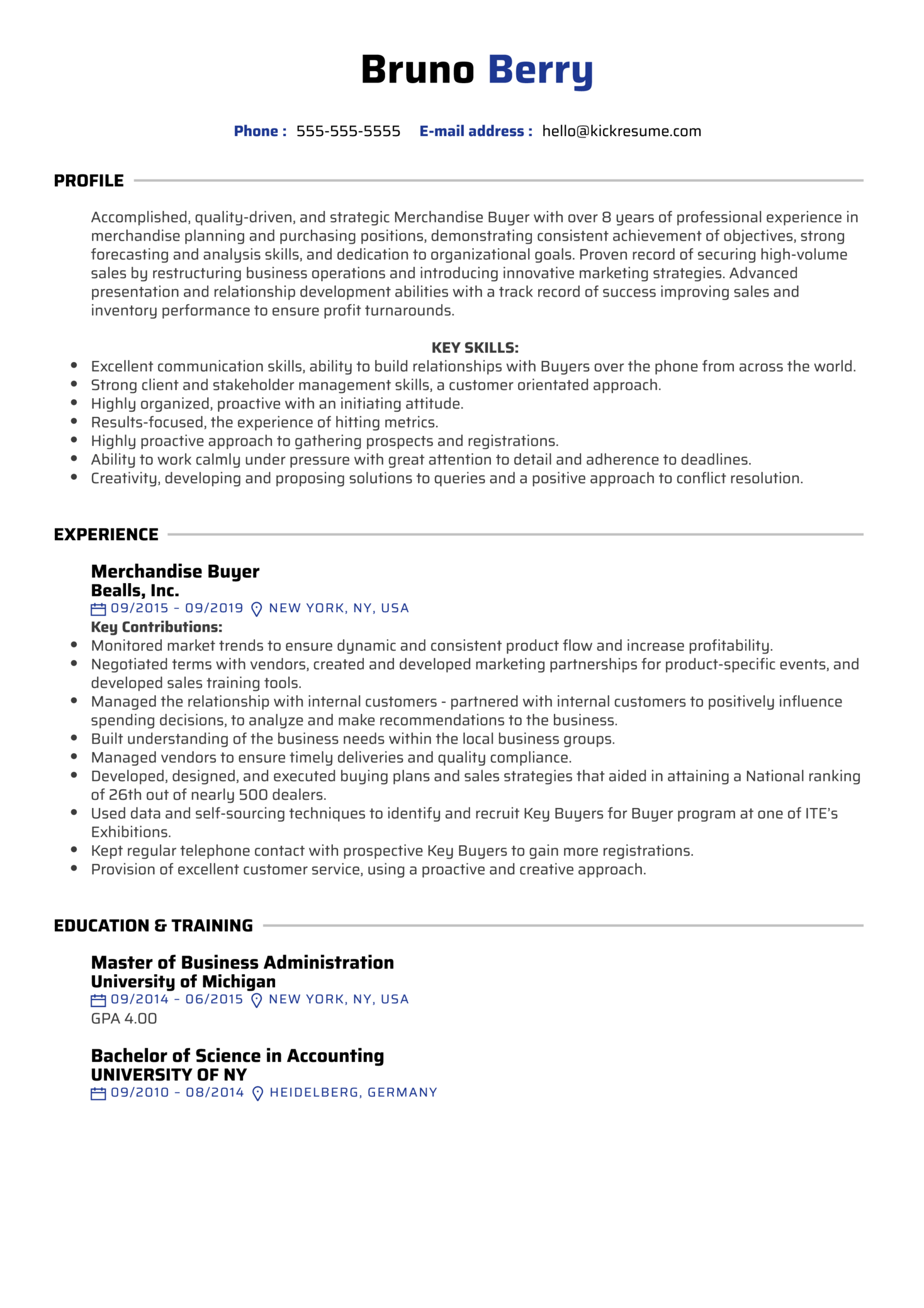 resume examples by real people  merchandise buyer resume