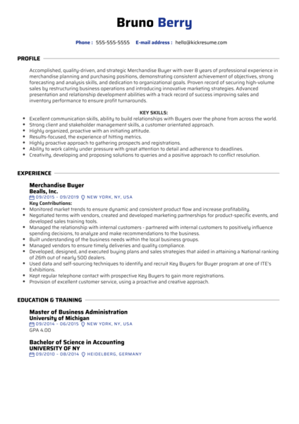 Merchandise Buyer Resume Sample