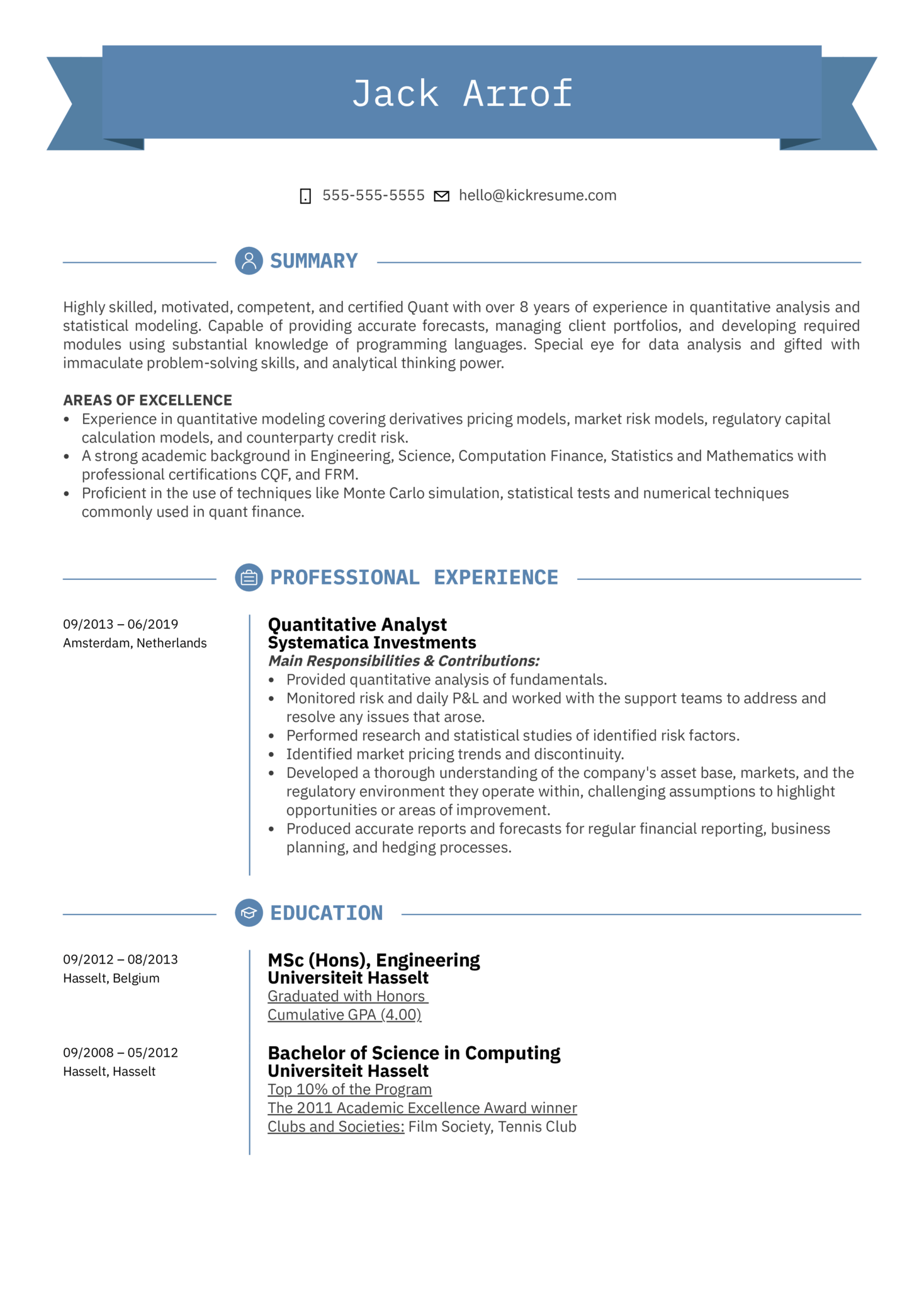 Quantitative Analyst Resume Sample