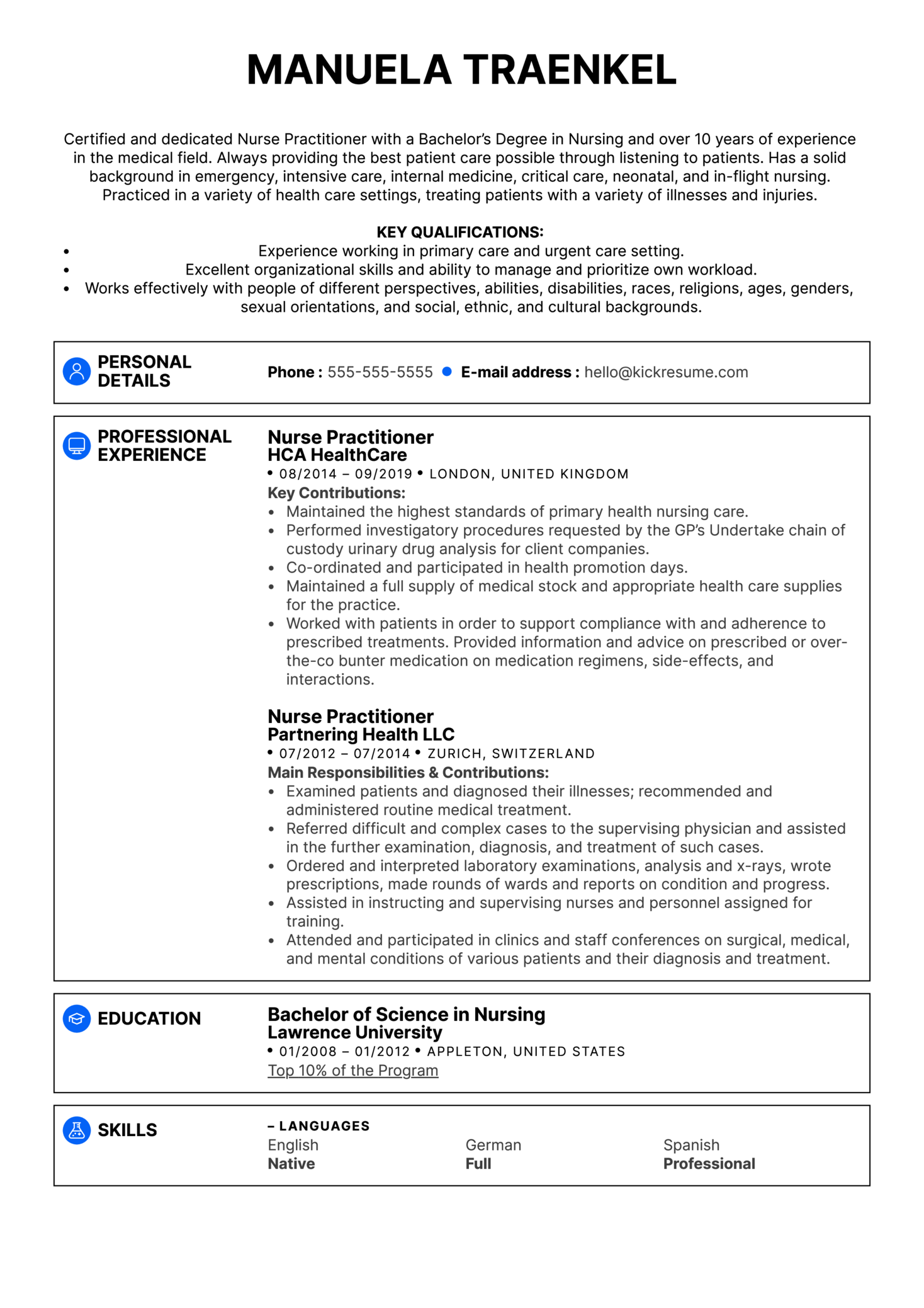 Nurse Practitioner Resume Example Kickresume