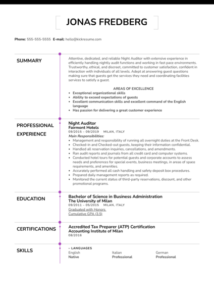 Night Auditor Resume Example