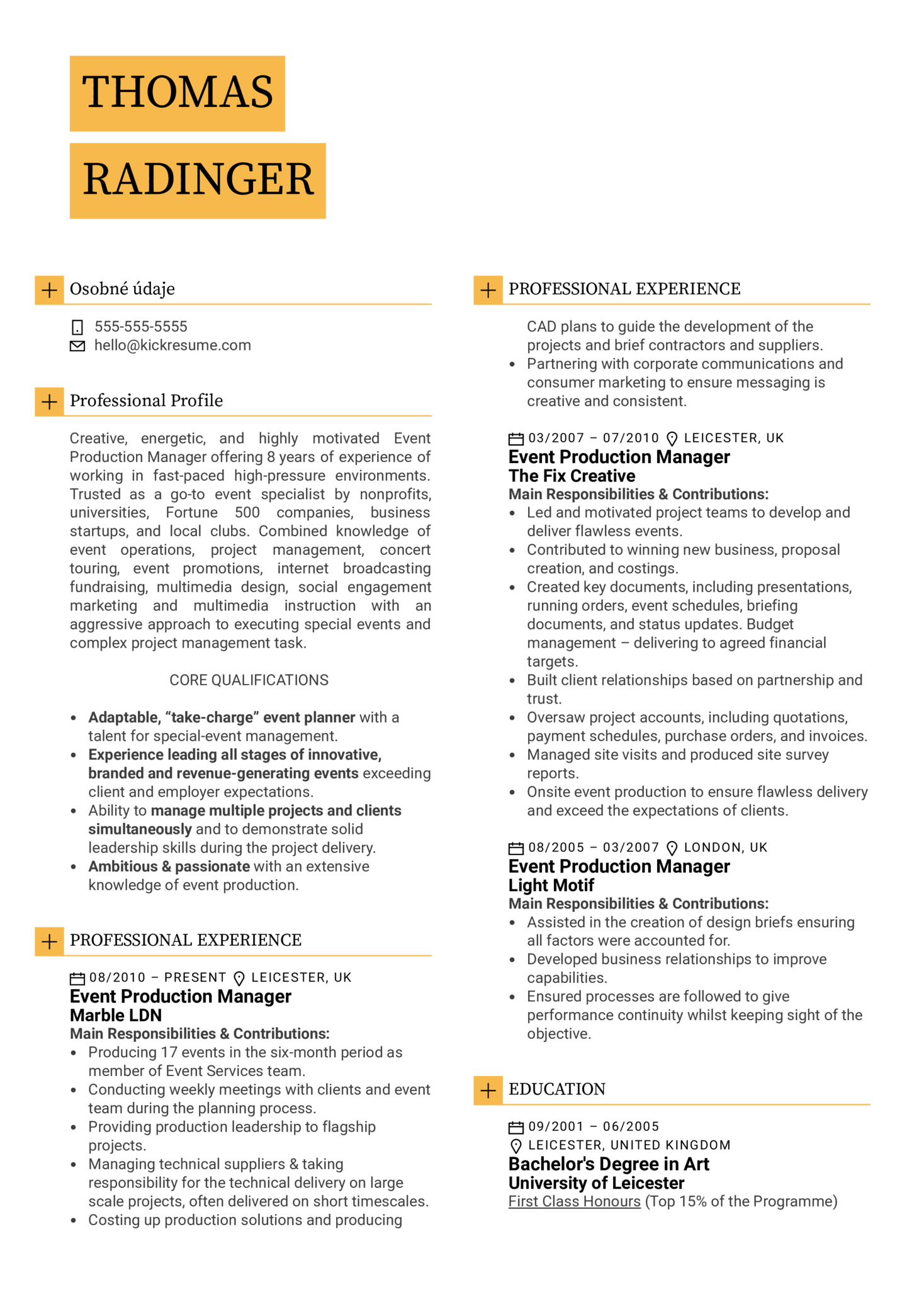 Event Production Manager Resume Sample