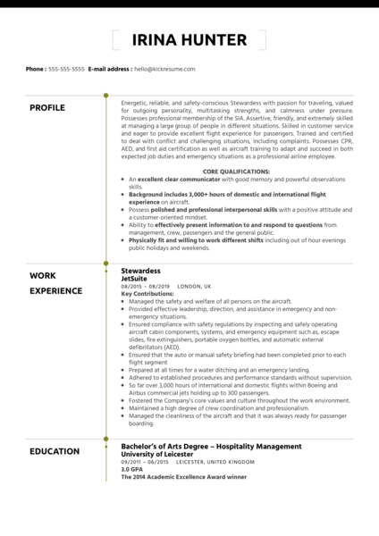 Stewardess Resume Example