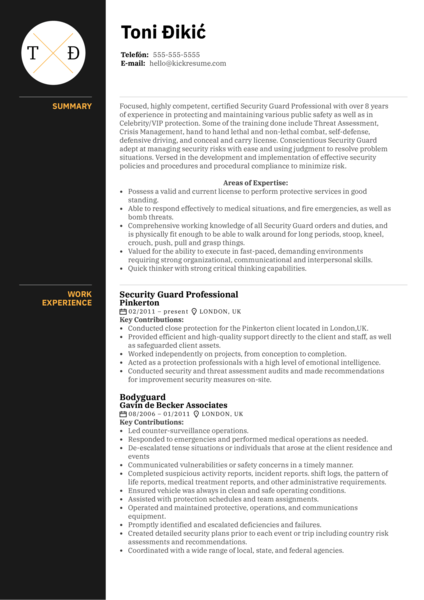 Security Guard Professional Resume Sample