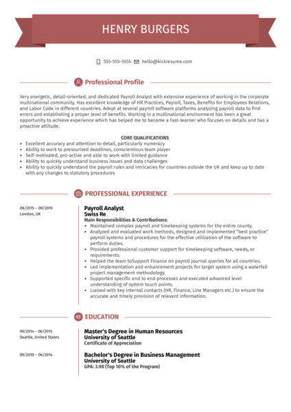Payroll Analyst Resume Example
