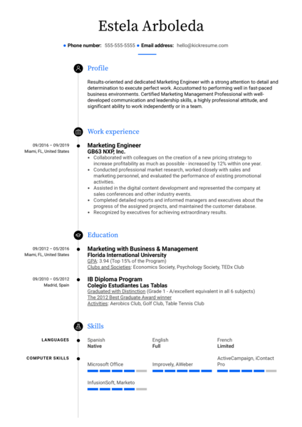Marketing Engineer Resume Sample