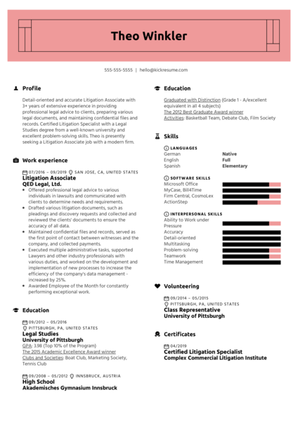 Litigation Associate Resume Example