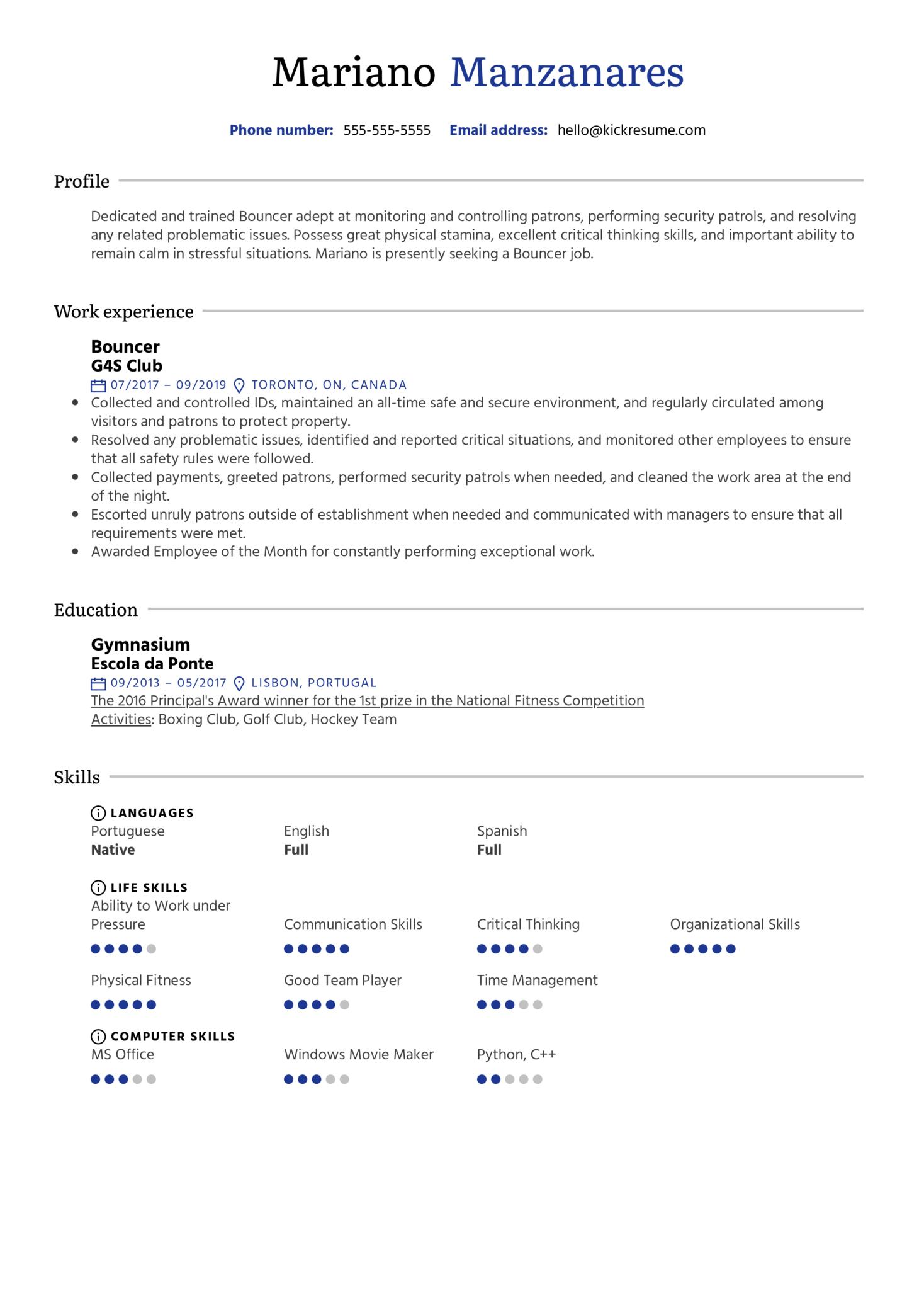 Bouncer Resume Sample (Part 1)