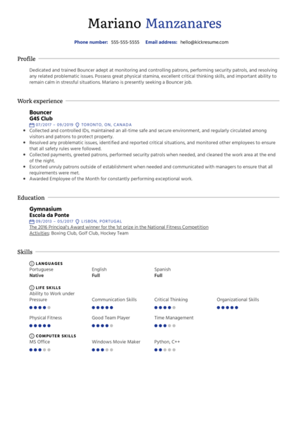 Resume Examples by Real People: Security Guard Resume ...