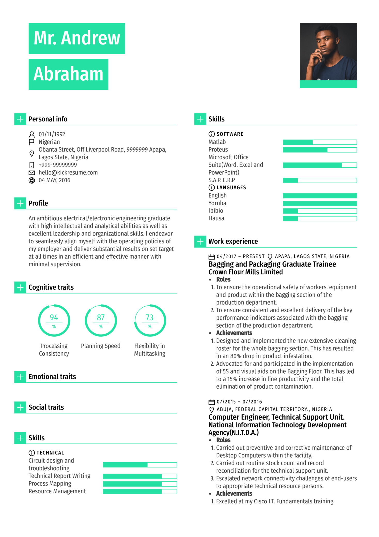 Graduate Engineer Trainee at Olam Resume Template (Part 1)