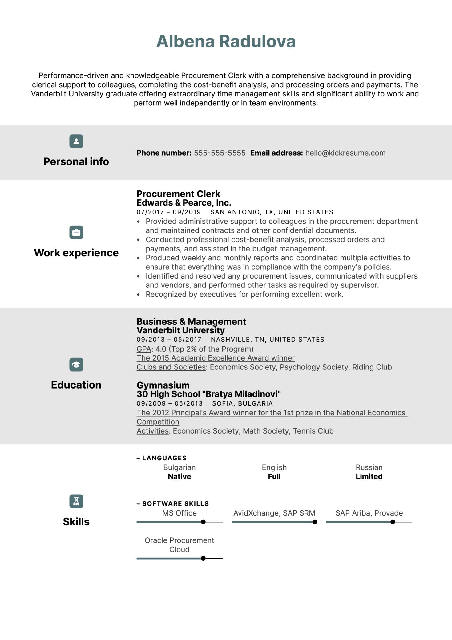 Procurement Clerk Resume Sample (Part 1)