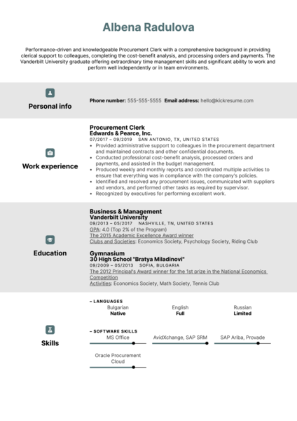 Procurement Clerk Resume Sample