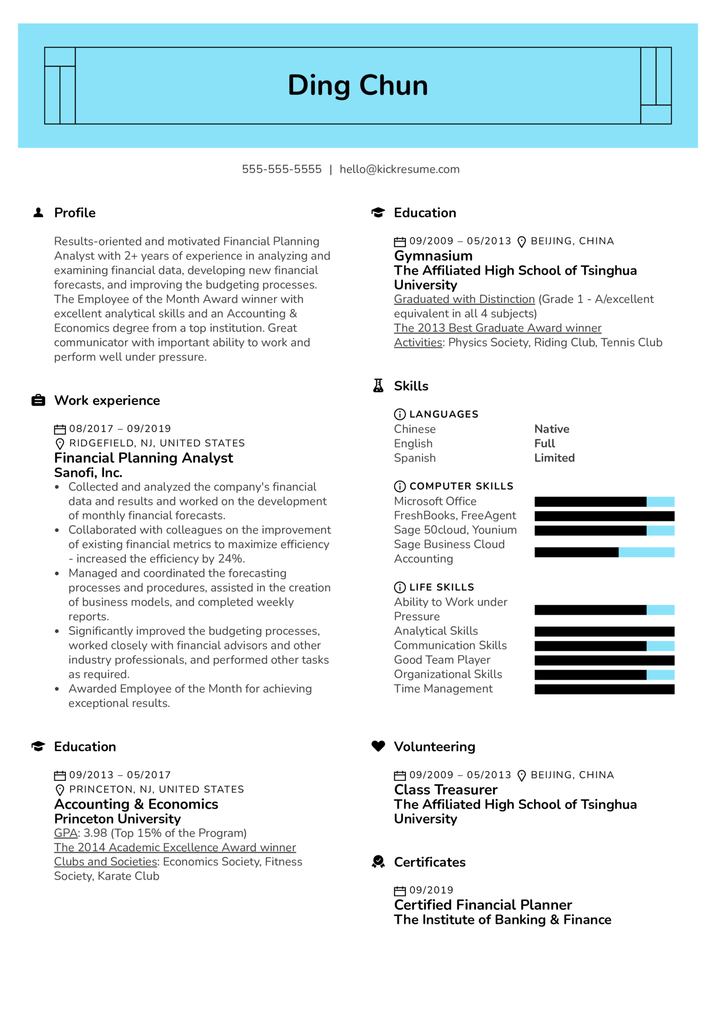 Financial Planning Analyst Resume Sample