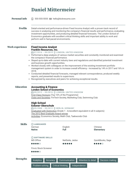 Fixed Income Analyst Resume Sample
