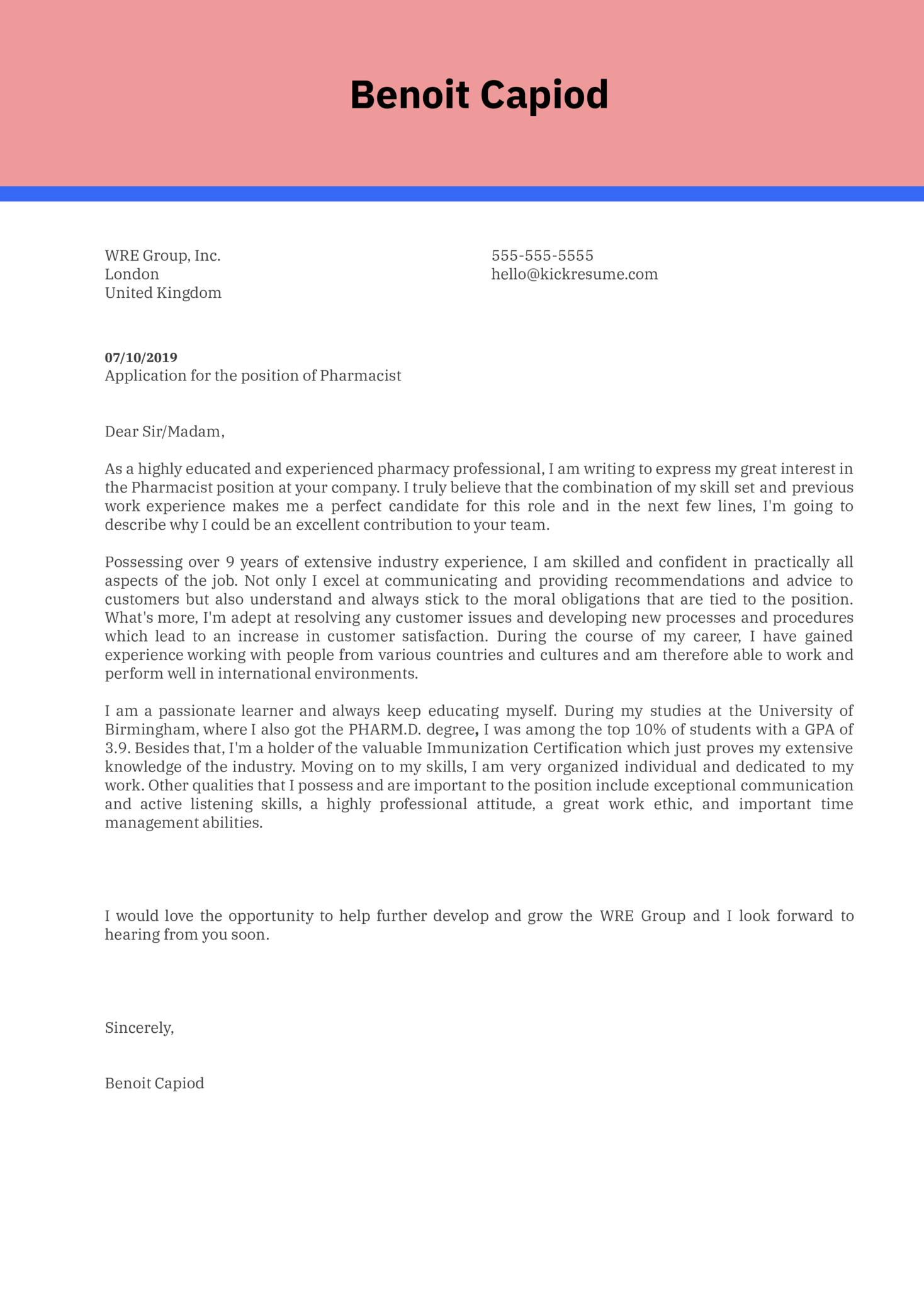 Pharmacist Cover Letter Example | Kickresume
