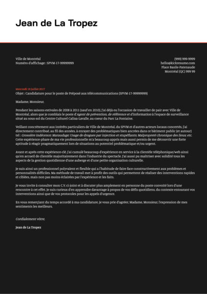 Webmaster/Webmestre cover letter example [French]