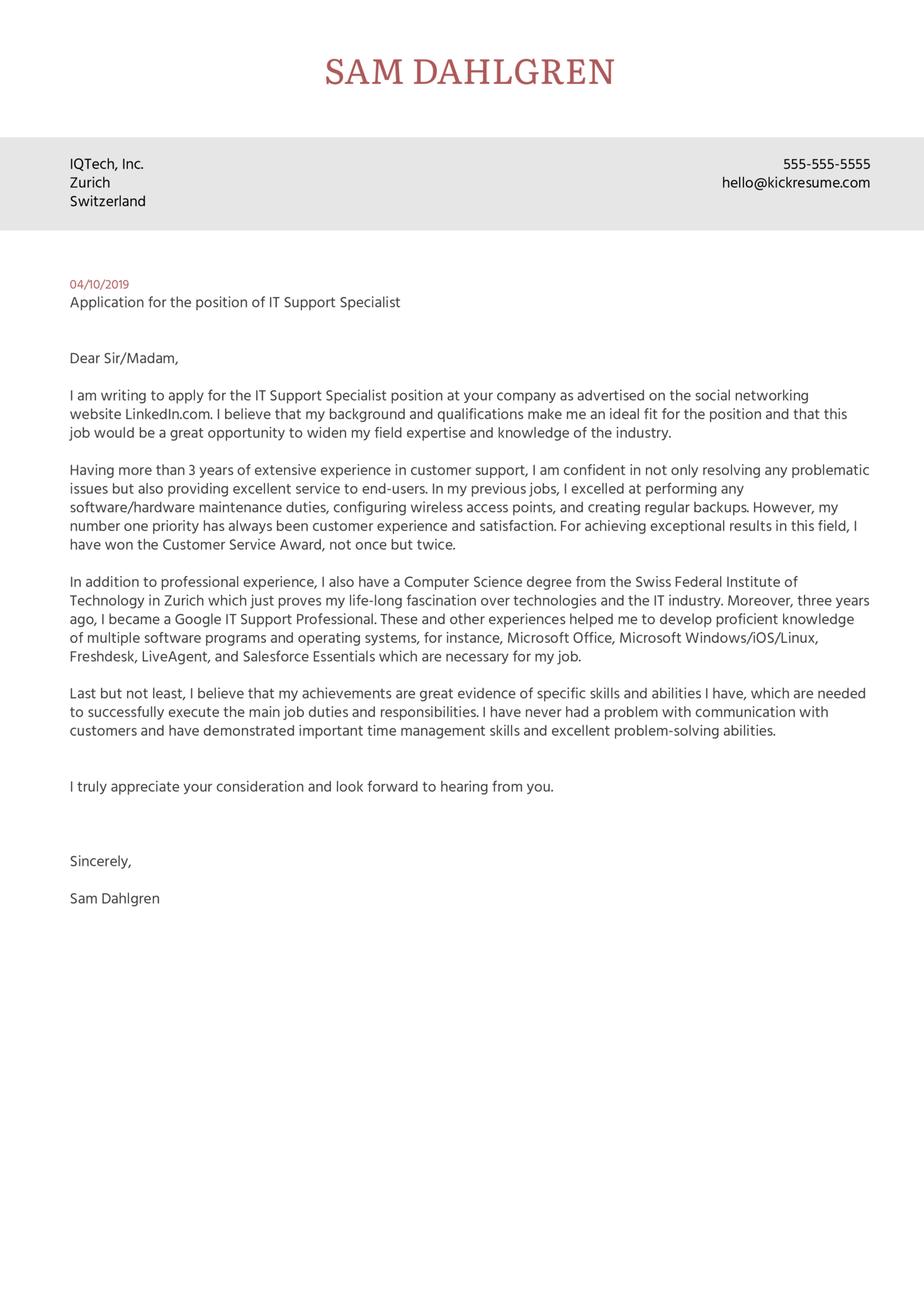 Cover Letter Examples by Real People: IT Support Specialist ...