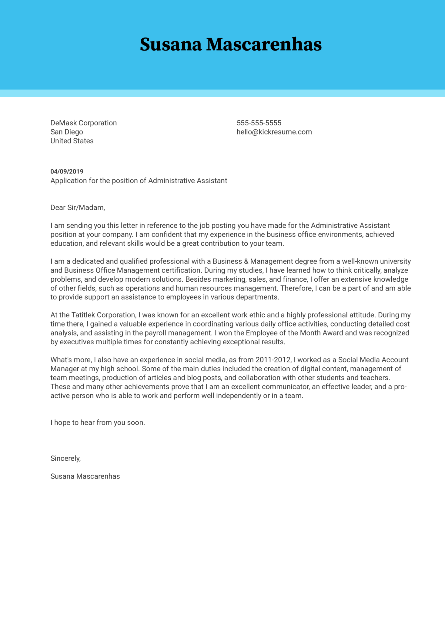 cover letter examples by real people  administrative assistant cover letter example