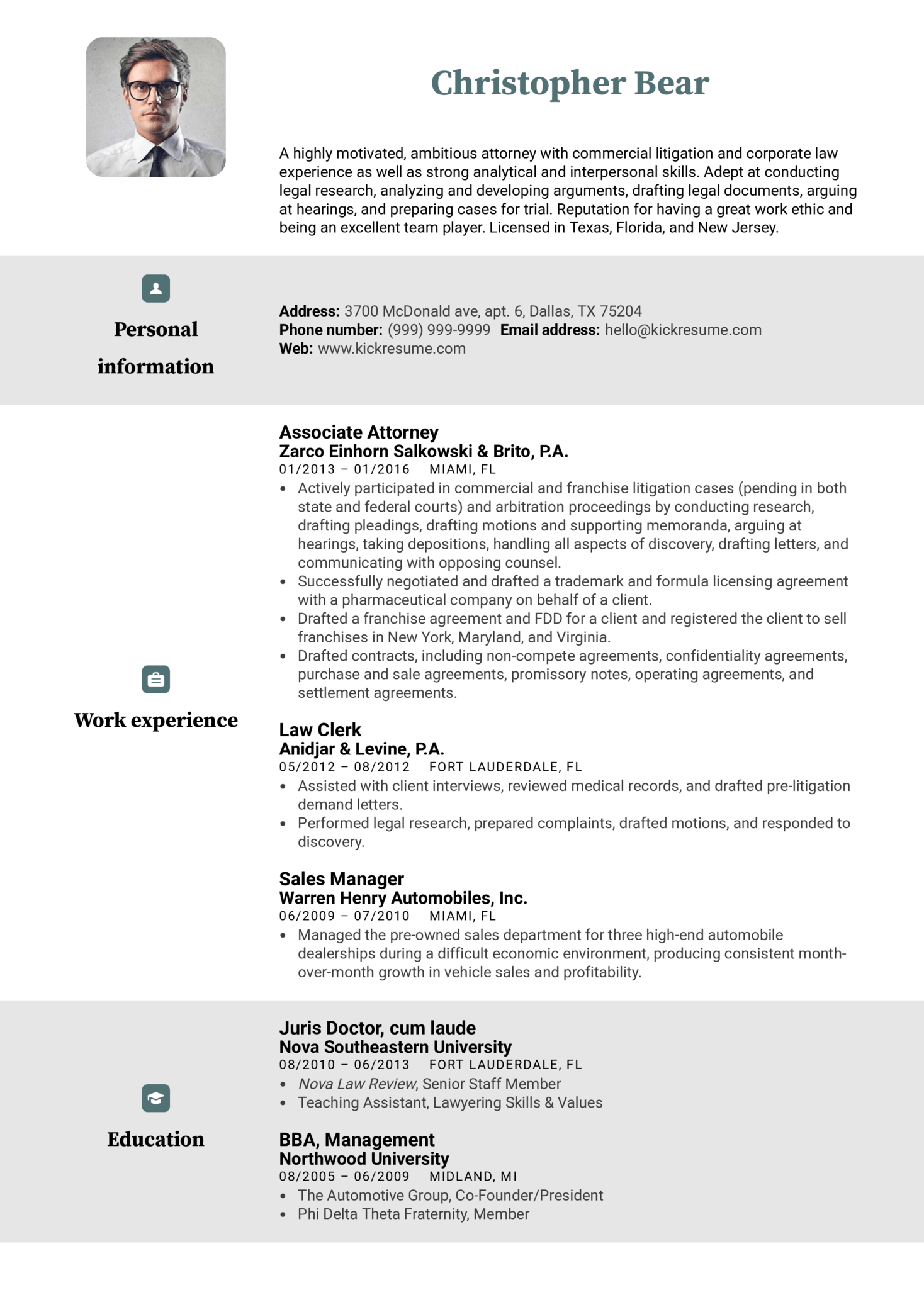 resume examples by real people  law clerk resume example