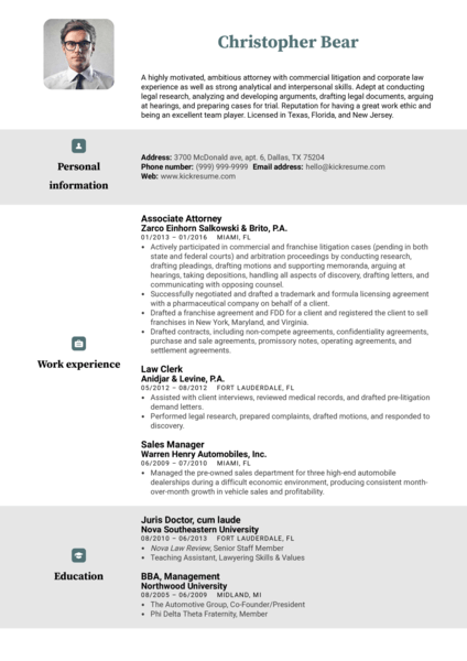 Law Clerk Resume Example