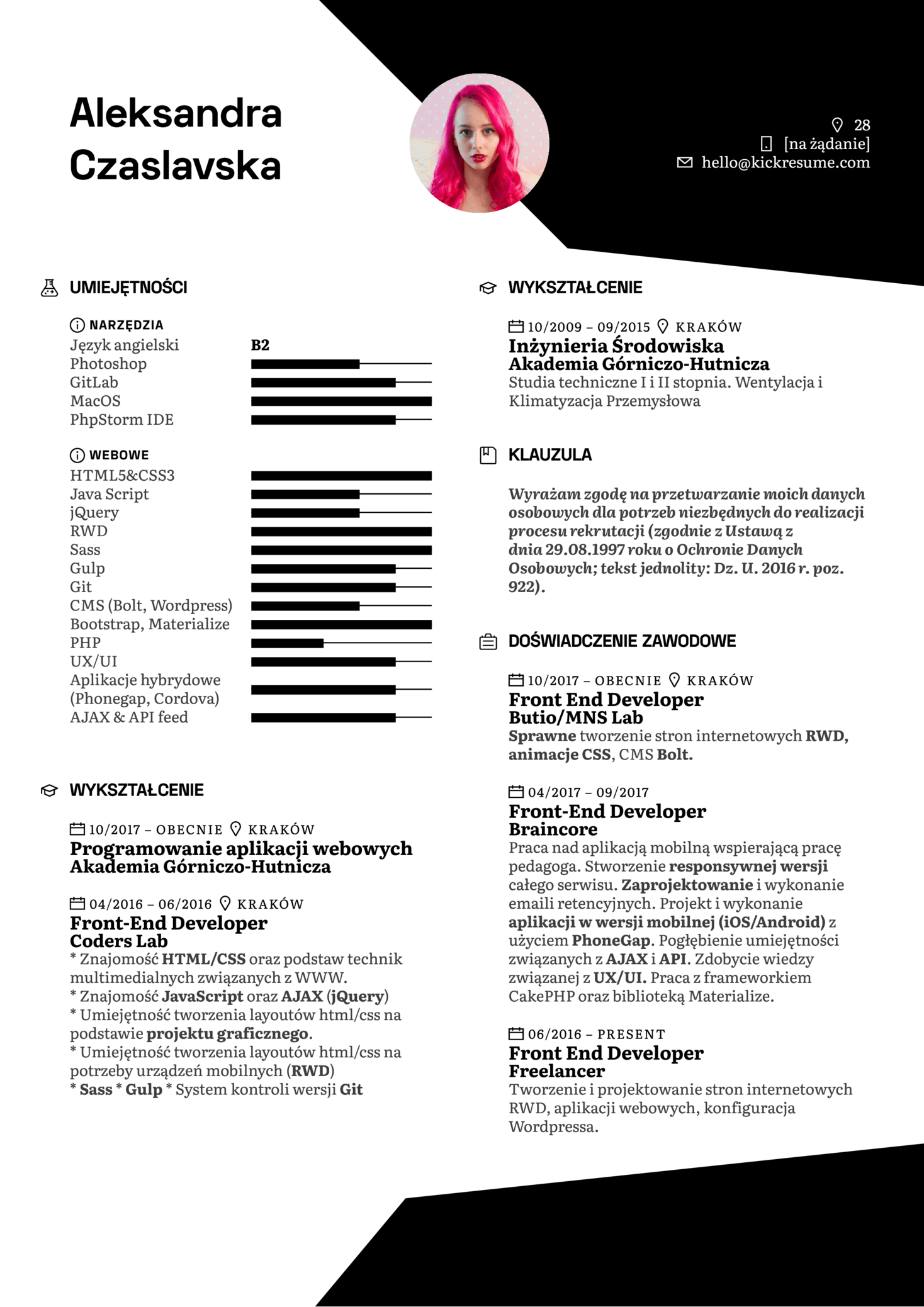 Front End Developer Resume Example [Polish]