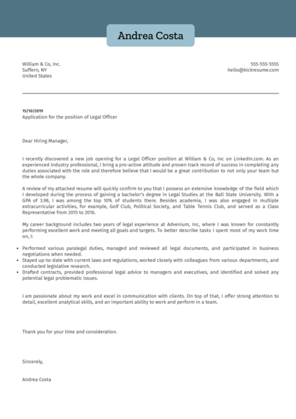 Legal Officer Cover Letter Sample