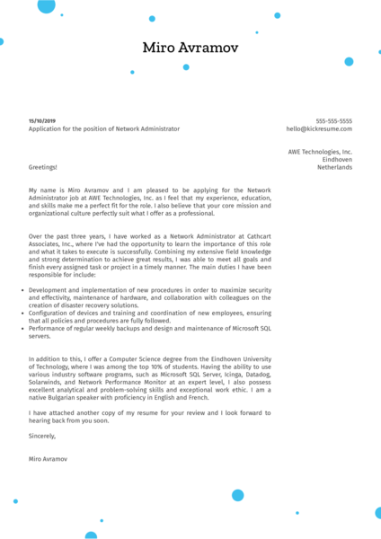 Network Administrator Cover Letter Sample