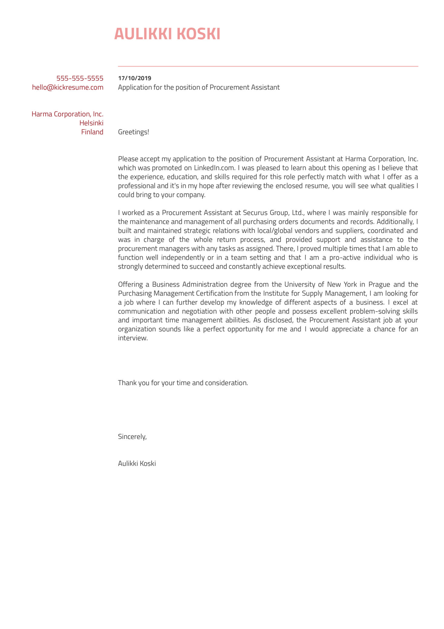 Procurement Assistant Cover Letter Sample