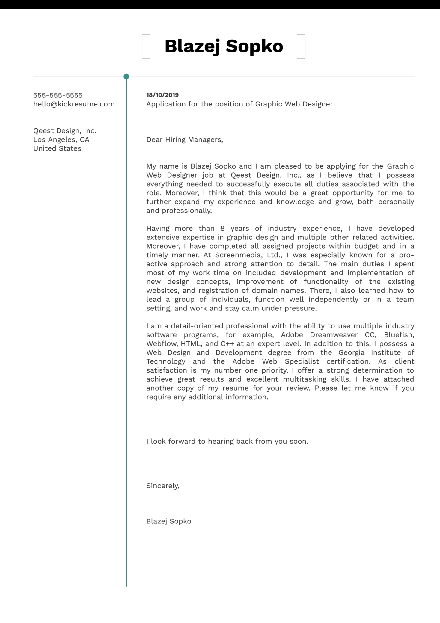 Cover Letter Examples by Real People: Graphic Web Designer ...