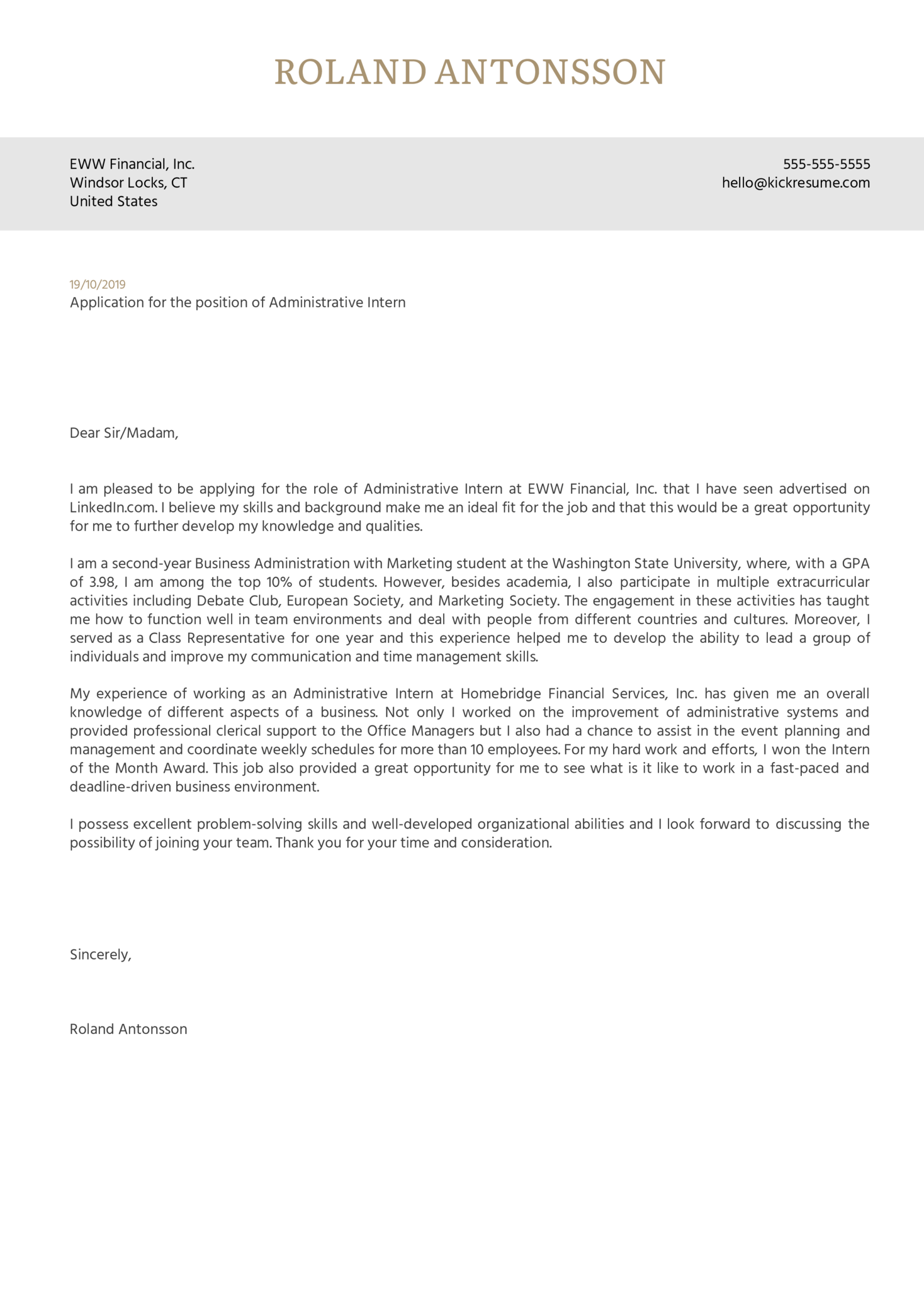 cover letter examples by real people  administrative intern cover letter example