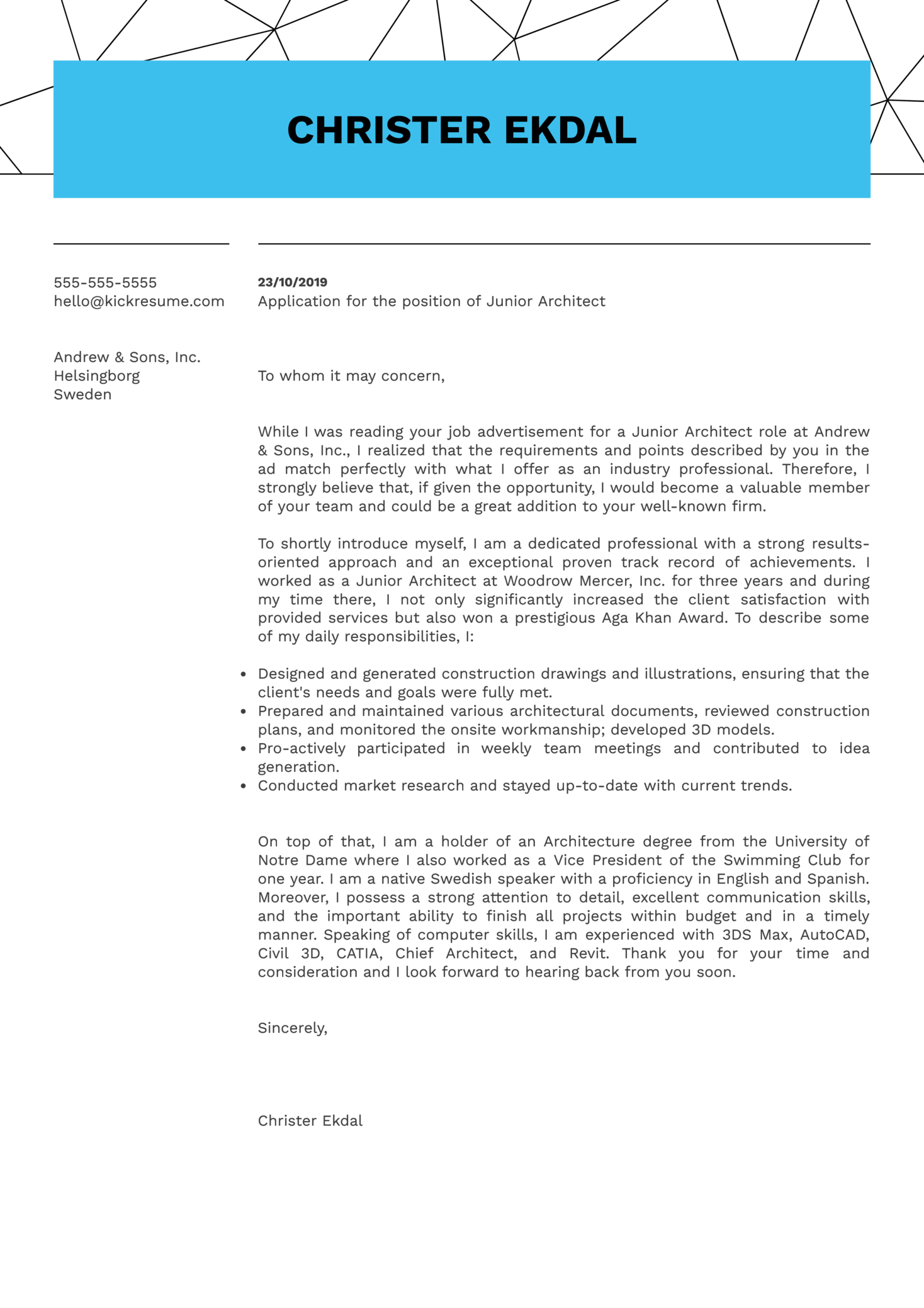 junior architect cover letter sample