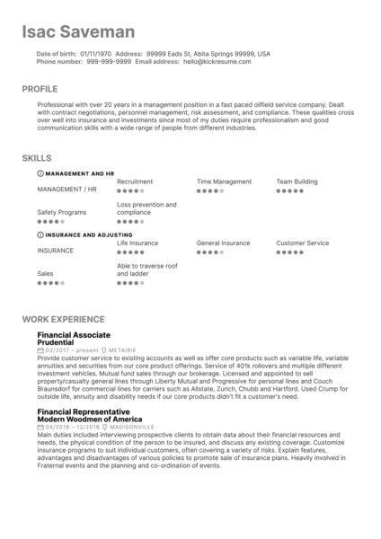 Financial Services Associate at Prudential Resume Sample
