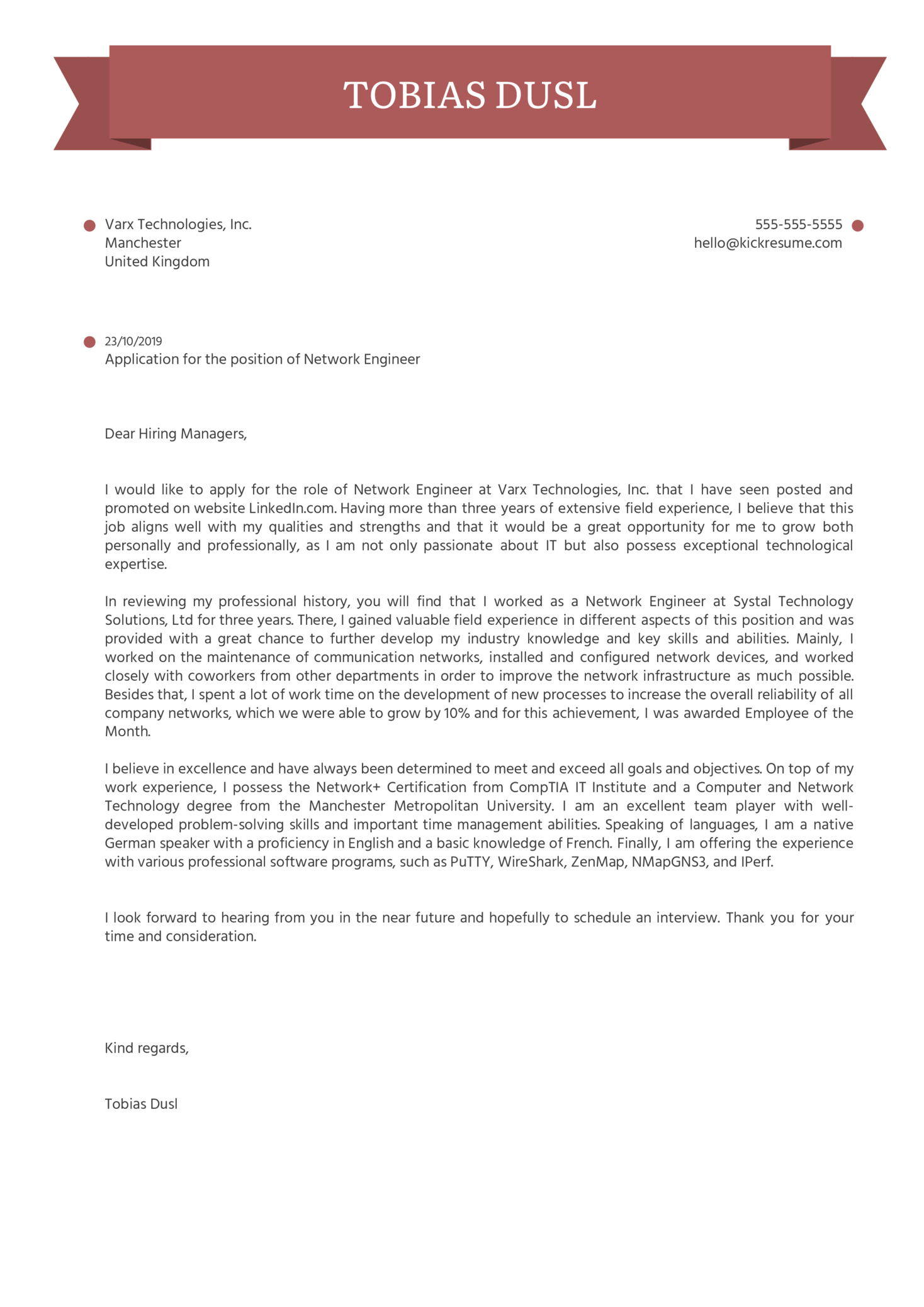 Network Engineer Cover Letter Template