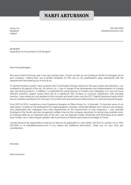 Ux Designer Cover Letter Sample Kickresume