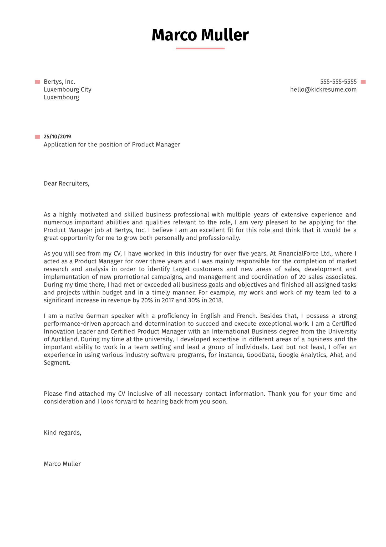 cover letter examples by real people  product manager cover letter example