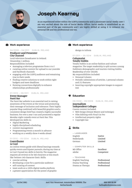 Planetromeo social media officer resume template