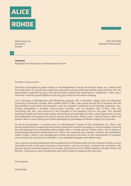 Management Trainee Cover Letter Template