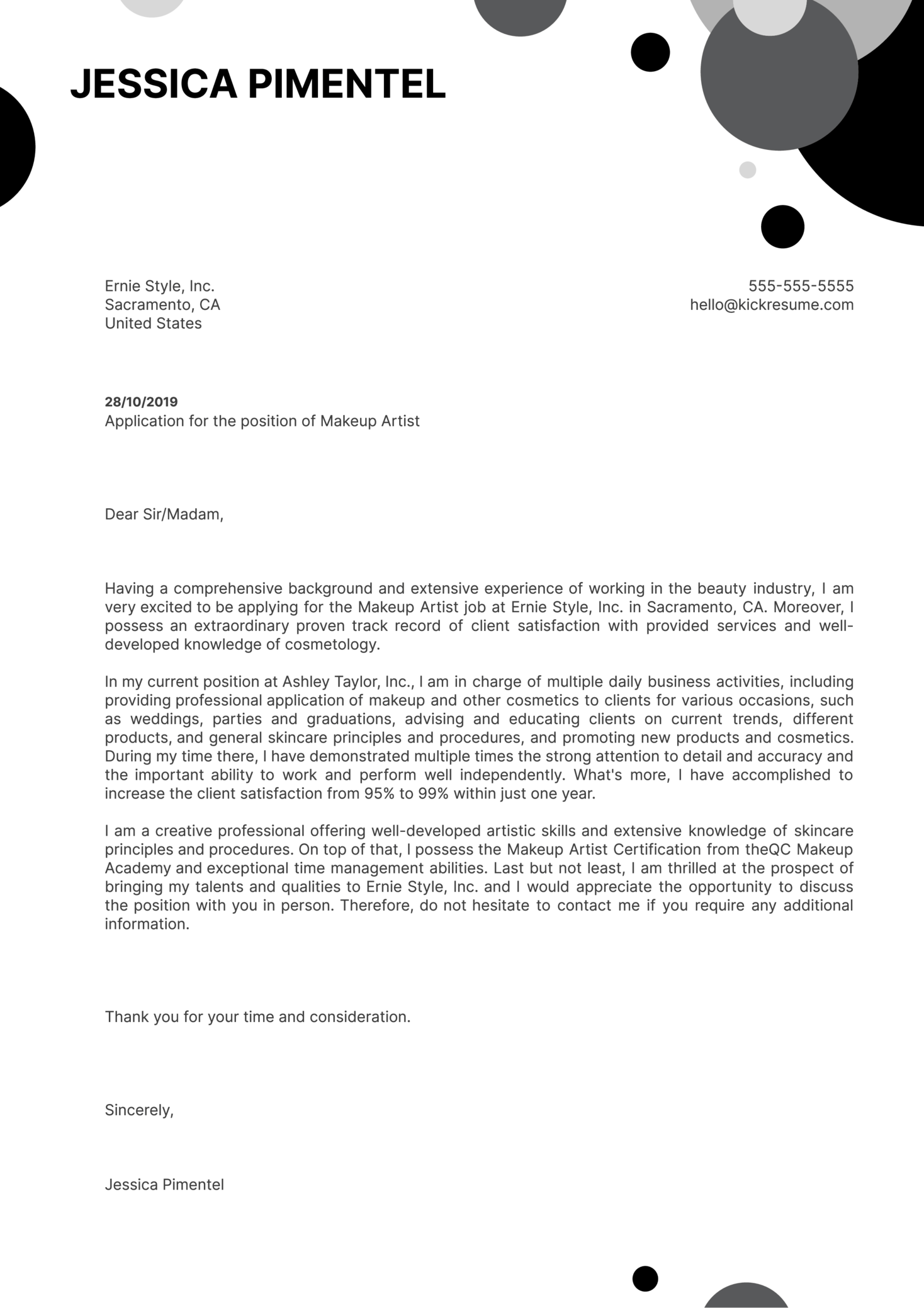 Makeup Artist Cover Letter Example | Kickresume