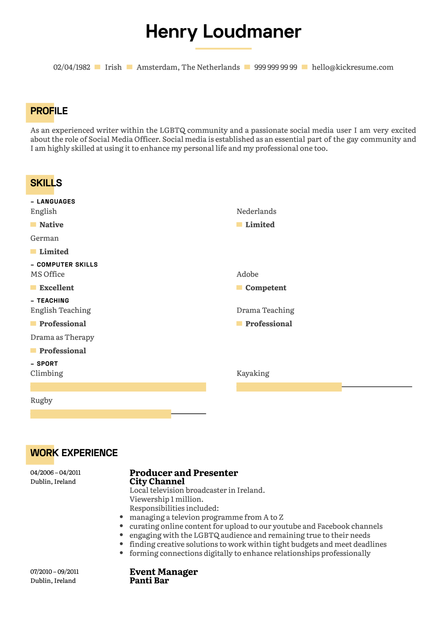 Producer and Presenter Resume Example