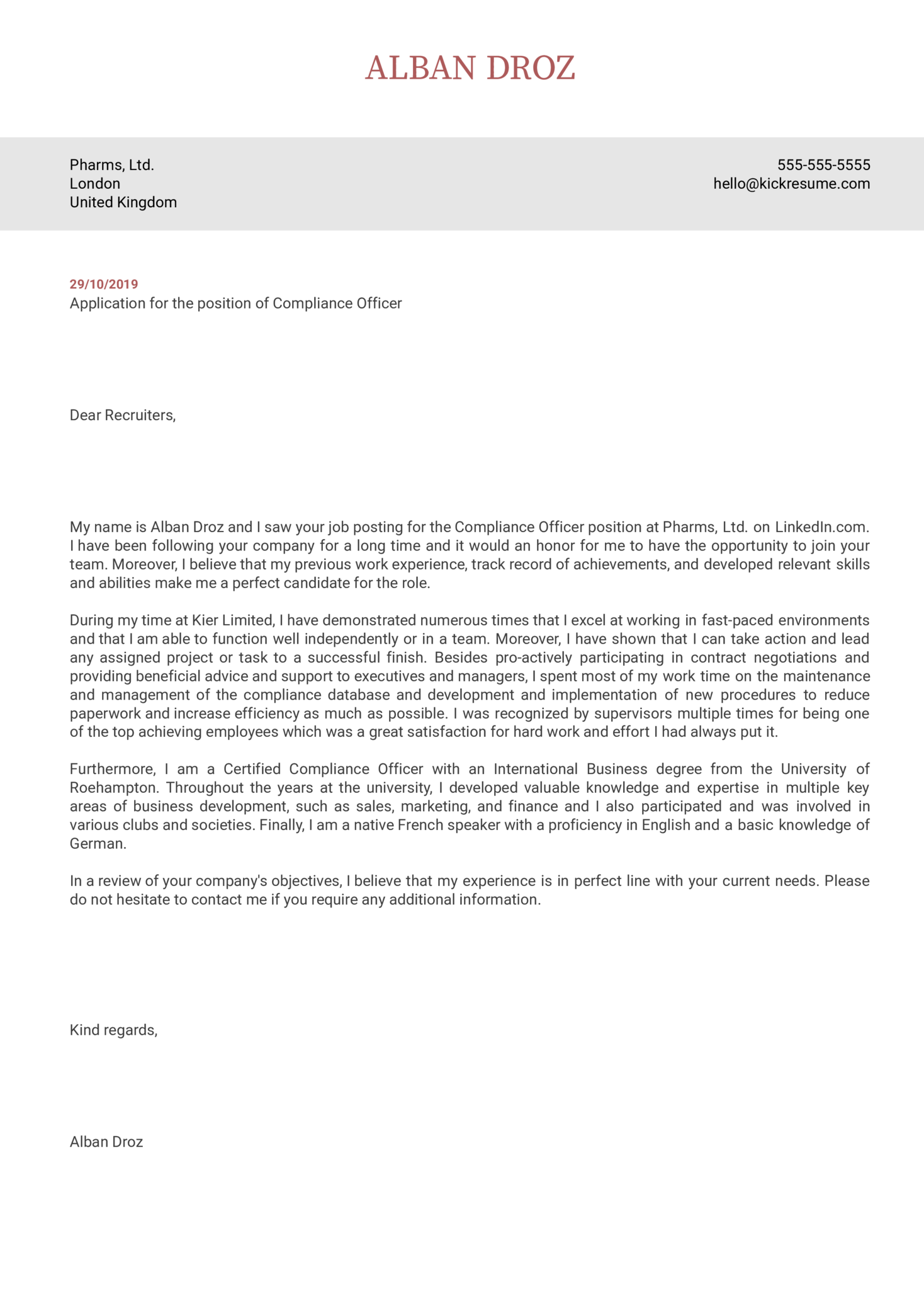 Compliance Officer Cover Letter Template