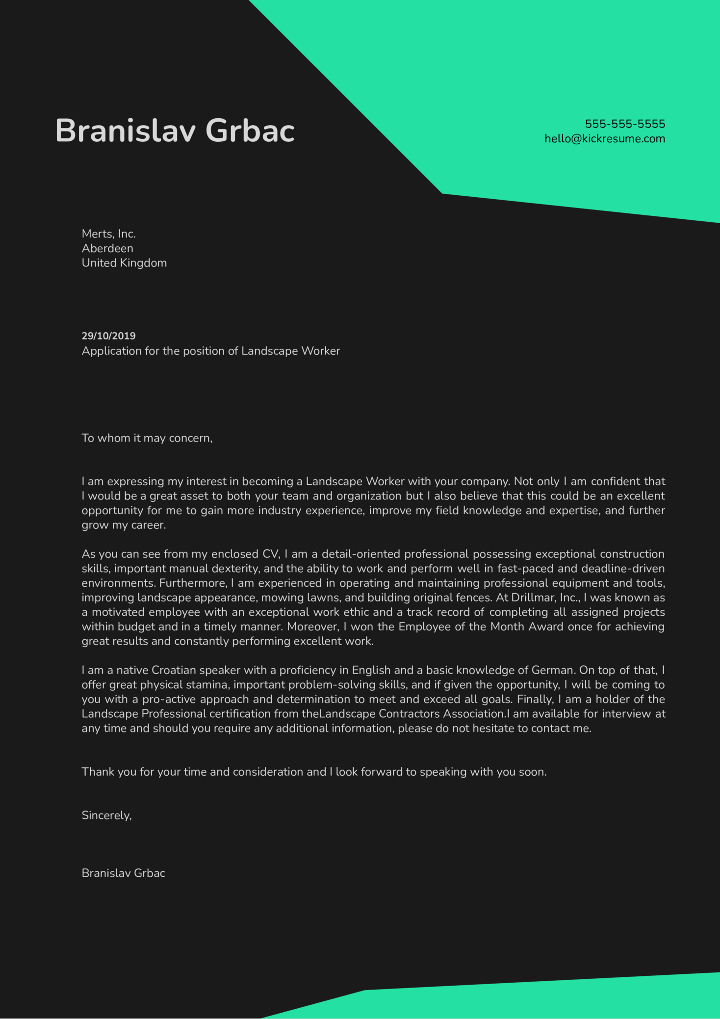 Landscape Worker Cover Letter Example