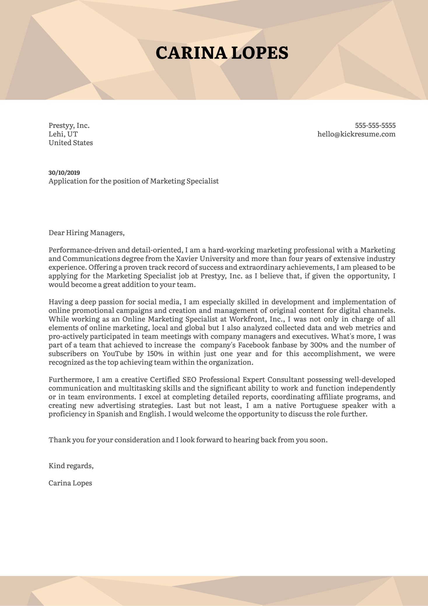 Marketing Specialist Cover Letter Template